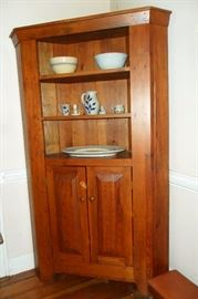 Pine Corner Cabinet,Pottery Bowls,Salt Glaze Items,etc..