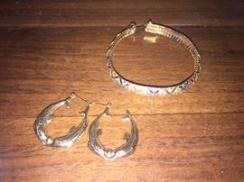 14k Earrings and Bracelet