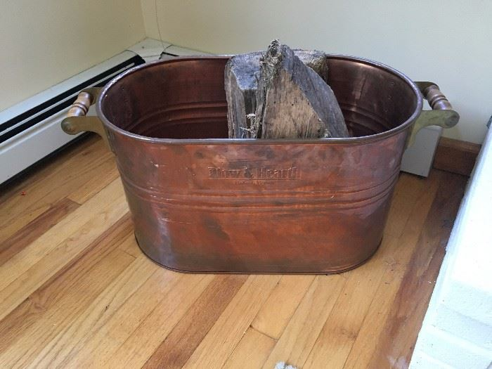 Plow and Hearth Copper Wood Bin
