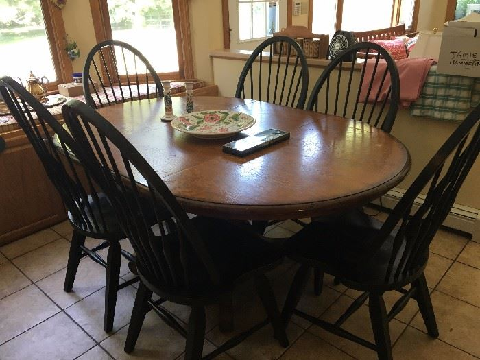 Pottery Barn Pedestal Table with Raymour and Flanagan chairs