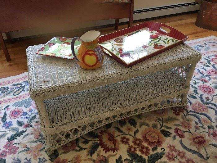 Wicker table, trays and pitcher