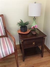 side table, lamp and artificial plants