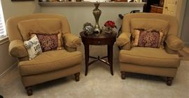 Pair of upholstered chairs by Massoud