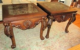 Pair of Extra Large End Tables W/Marble Inserts