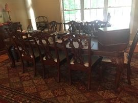 Dining room table w/10 chairs (Broyhill)