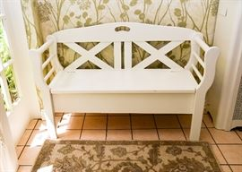 "BUY IT NOW!  Lot # 100, White 2-Seat Storage Bench, $200 (Approx. 47"" L x 18"" W x 28"" H)"