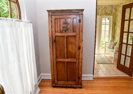 "BUY IT NOW!  Lot # 102, Antique Oak Cabinet with Shelves & Ship Carving on Door, $300, (Approx. 28"" L x 15.5"" W x 67.5"" H)"