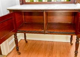 "BUY IT NOW!  Lot # 103, Antique Marble Top Baker's Cabinet w/ Tile Back & Mirror, $400, (Approx. 28"" L x 15.5"" W x 67.5"" H)"