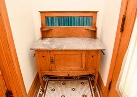 BUY IT NOW!  Lot #102, Antique Oak Baker's Cabinet with Tile Back & Marble Top, $400