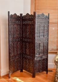 SOLD--Lot #103, Carved Ebony Wood 3-Panel Screen / Room Divider, $250