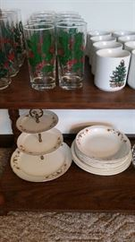 "Hall China ""Autumn Leaf"" pattern, 3-tier tidbit server--SOLD, 6 coupe soups, 3 pie plates."