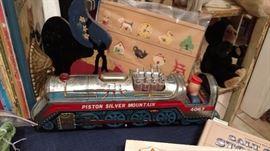 antique tin train engine