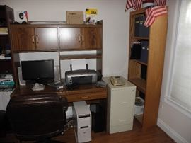 Computer desk, book case, metal file cabinet, printer, handbuilt tower, 2.9g Ram, railroad magazines in yearly binders