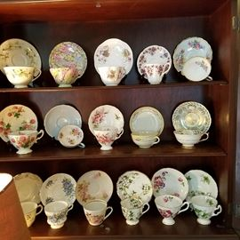 Cups and saucers including Shelley and Chintz