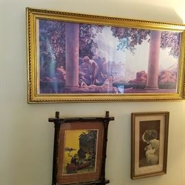 "Maxfield Parrish ""Daybreak"" print as well as others"