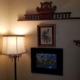 Vintage floor lamp, print, architectural element (walnut)