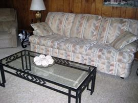Couch, glass & iron table, pair of end tables