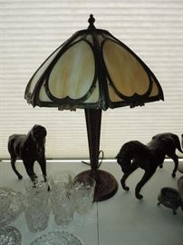 Slag glass vintage lamp (2 available)