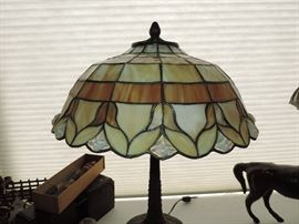 Vintage leaded glass lamp attributed to Wilkinson