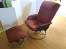 Ikea Leather Chair & Ottoman