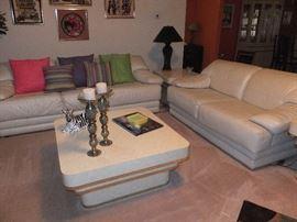 living room - cream fine leather sofa and love seat