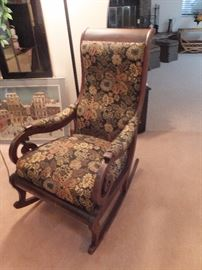 Antique rocking chair - wood with uphostery