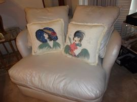 Bernhardt loveseat hand painted signed designer pillows