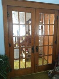 Antique solid wood beveled glass 15 pane doors