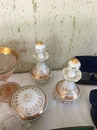Vintage hand painted perfume bottles, dresser set