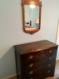 Antique mirror and chest of drawers