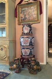 3ft Floor Vase, one of a pair- and Foo Dogs