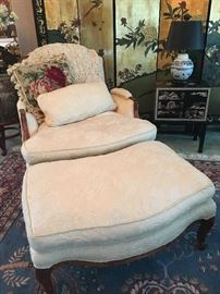 Sam Moore Chenille Chair & Ottoman