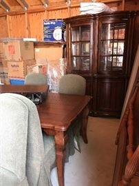 Hutch, dining room table and upholstered, chairs