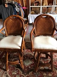 Four  Wicker-wood white cushioned barstools