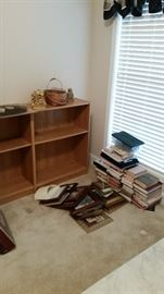 Three wooden low bookcases-ALL SOLD, books, frames, bookends