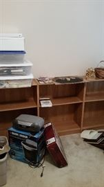 Wooden low bookcases-ALL SOLD, paper shredder, CD player/stereo, storage containers