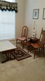 Early American side table, marble lamp (with shade, not photographed), 2 side chairs, Victorian marble top coffee table with drawer-SOLD, small area rug, 2 wall pictures/decor, 2 black plaid valances-SOLD.
