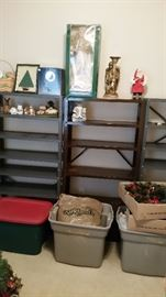 More Christmas decor (these shelves will be completely full when we empty the boxes/bins!)