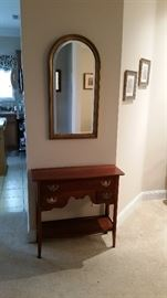 Beautiful, solid cherry console table, arched mirror, wall decor