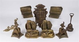 Lot 14: Lot of Metal Items Including Owls, Griffin Bases, Bookends, and More