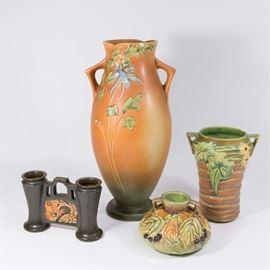 Lot 2: 3 Roseville Vases & 1 Columbine Vase