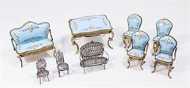 Lot 36: Diminutive Enamel Parlor Set & Filigree Silver Set