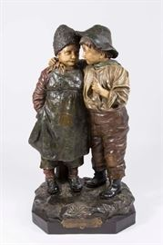 Lot 34: Austrian Terracotta Grouping, Boy & Girl