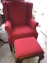 Wing back upholstered chair with matching ottoman