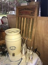 Antique washboard, rabbit decor, two gallon crock water cooler