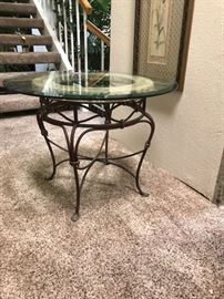 Contemporary glass topped end table