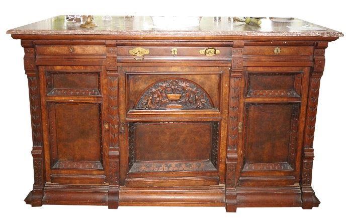 Antique Burl cabinet, marble top $490