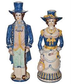 Italian Caltagirone figural candlesticks, $390 pair