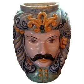 "Italian Caltagirone wall vase, 17""H $390"
