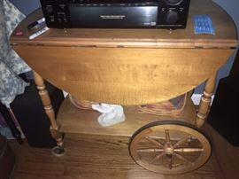 Wooden butler rolling cart